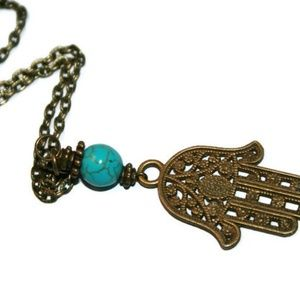 Zendelux Jewelry Jewelry - 💙Bronze Hamsa Hand Necklace w/ Turquoise Gemstone